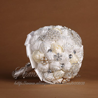 FREE SHIPPING WHITE+IVORY ROSE WEDDING FLOWERS WEDDING BOUQUET BRIDES VINTAGE POSY PEARLS BROOCHES DIAMANTES