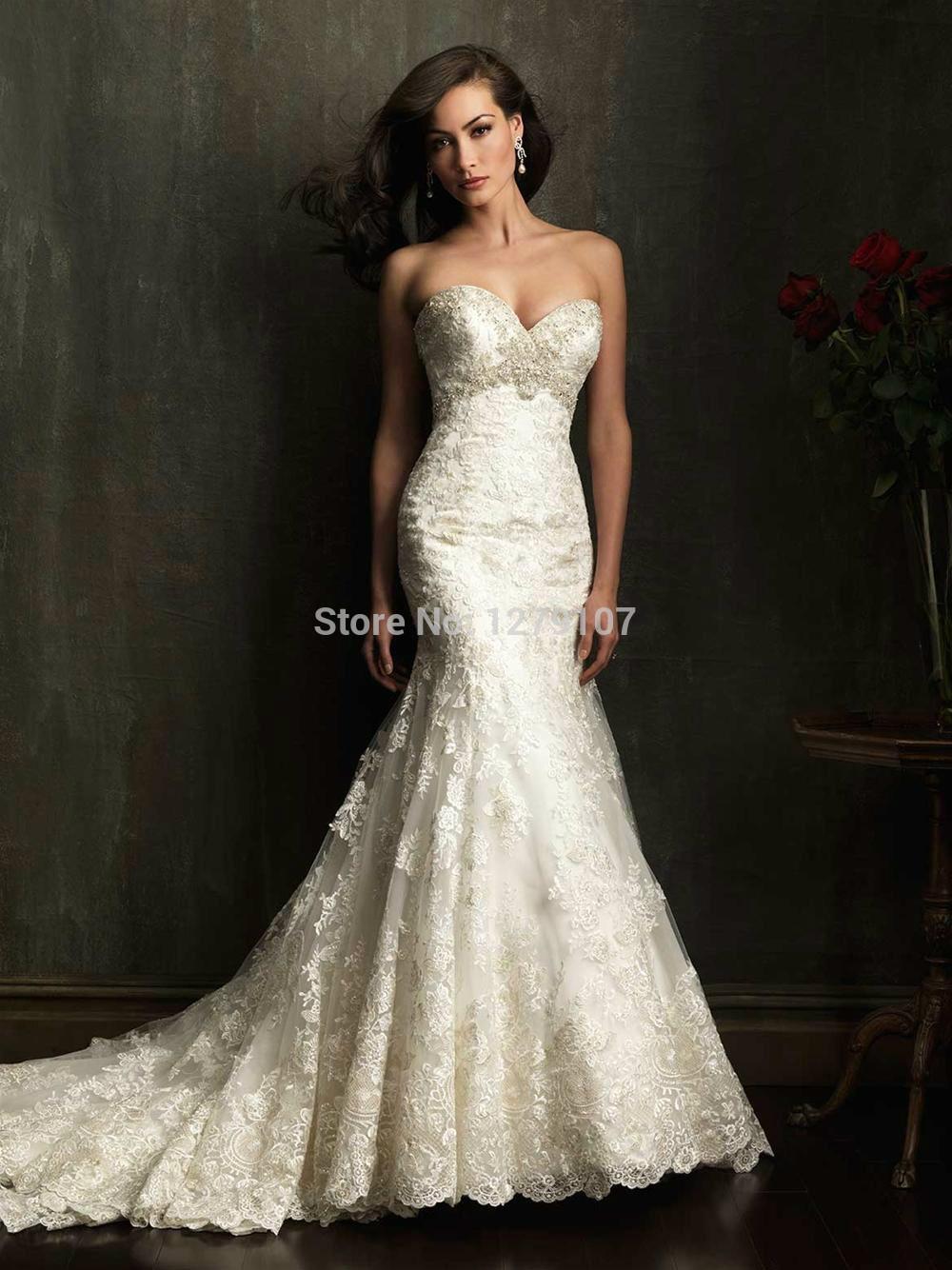 Innamorato di perline di cristallo lavorato a mano fune di traino cattedrale, abito da sposa in pizzo