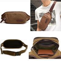 HOT New 2015 Men Vintage Canvas sport waist bag  Fashion Men Outdoor Waist Pack Boy travel bags men messenger bags