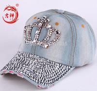 fashion cap hip hop snapback lot crown Diamond women baseball caps jeans rhinestone baseball cap for women sun  hot  2 colours