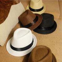Fashion Womens Mens Unisex Fedora Trilby Gangster Cap Summer Beach Sun Straw Panama Hat Couples Lovers Hat