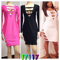 TY117~DHL free shipping~new bodycon bandage dresses Front Side cut out bust open party evening girl maxi dresses sexy clubwear