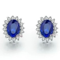 Luxury 18K rose gold 2 Ct sapphire earrings, 925 Sterling Silver stud Earrings,fashion Weeding earrings Free Shipping