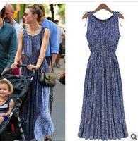 2014 NEW WOMEN'S SUMMER SMALL FLORAL PRINT BLUE MAXI DRESS SLEEVELESS 100% COTTON LONG DRESS REGULAR BLUE PLUS SIZES,M,L,XL,XXL