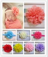 "Wholesale - - Baby girl headband 4"" big Chiffon Flower 15 colors Headband Photo Props 30pcs/lot"