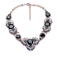 Brand Name Vintage Bronze Jeweled Gems Crystal Collar Necklace 2014 In New Free Shipping