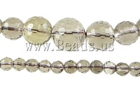 Free shipping!!!Quartz Jewelry Beads,Promotion, Smoky Quartz, Round, 5-14mm, Hole:Approx 0.8-1.5mm, Length:16.5 Inch