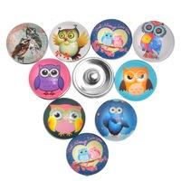 Free Shipping! 12PCs Press Buttons Fit DIY Snap Bracelets Owl Pattern Mixed 18mm