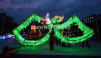 18m Length Size 3 silk print fabric  Green LED light  Chinese DRAGON DANCE ORIGINAL  Folk Festival Celebration Costume