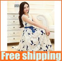 S-XL 2014 New arrival Women Dress Summer wear Casual Sleeveless Chiffon High quality Sweet Dresses Free Shipping