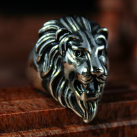 New Men's Biker Lion Head Ring King of Animal Silver Vintage 316L Stainless Steel Band Factory Price Wholesale