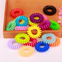 50pcs/lot High Elastic Mixed Color Hair Ties Telephone Line Hair Band Headwear Girl's Ponytail Holder Hair Rope Women's  A00377