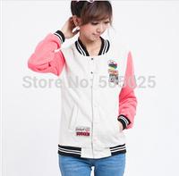 moleton college baseball plus size fleece sweatshirts moletom feminino warsity Jackets women stand collar emoji sudaderas mujer