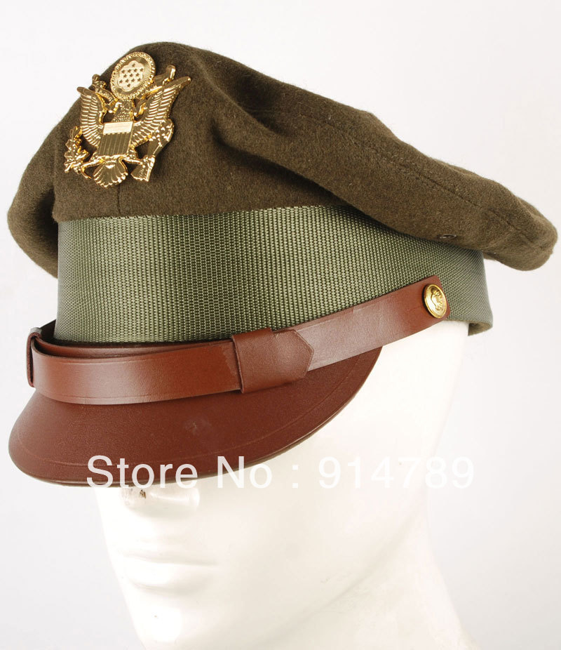WWII US UNITED STATES MILITARY OFFICER VISOR CRUSH CAP HAT WITH BADGE IN SIZES-33231(China (Mainland))
