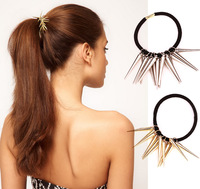 50pcs/lot Hair Tie Punk Long Rivet Gold Silver Black Elastic Hair Band Headwear Girl's Ponytail Holder Women's Hair Rope  A00386