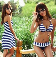 2014 Summer Sexy Women Three Pieces Bikinis Set Push Up Padded Swimwear Blue Navy Stripe Swimsuit