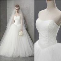 2014 New Fashionable Romantic Sexy Lace Vintage Bandage Wedding Dress Real Photo Plus Size Long Train Princess Ball Gowns Dress