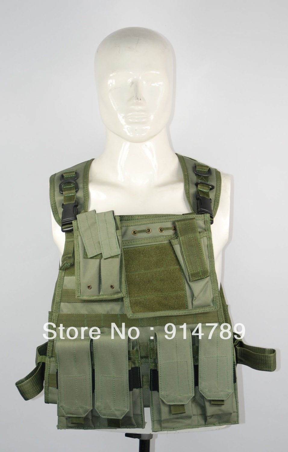 FIELD GEAR COMBAT LOAD TACTICAL GREEN VEST-32683(China (Mainland))