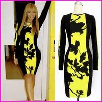 2014 Women Dresses XXL Cotton Long Sleeve Black Knee-Length Sheath Dress Sexy Girl Print Dress Brand Women Dress With Zipper