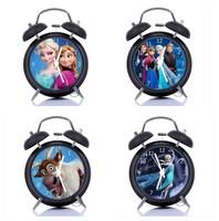 New Frozen Clock Cartoon Silient Alarm Clock Anna Elsa Print Clock 17 Choices White Black Clocks