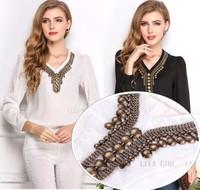 2014 Summer New Fashion Women V-neck Loog Sleeve Sequined Chiffon Blouse T Shirt  Black/White Ladies Top