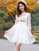 Free Shipping 2014 New Europe Style Fashion Women's Dresses Princess Rework Embroidery Dress Partysu Chiffon Slim Clothing
