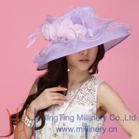 Free Shipping Women Hat Summer Organza Hat Church Hat Wide Brim Flower Fashion Dress Women Hair Accessories  Wedding Dress Hat