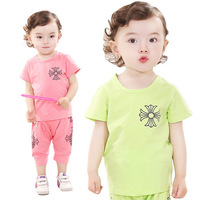 [Lucky Clover]Free Shipping,1lot=4sets,KD-0026-70,girl t shirt,boys t shirt,boys girls clothing sets,for 80-110cm,(pink green)