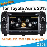 S100 Car DVD GPS Player for Toyota Auris  2013-2014 Car Radio Audio GPS Player with Radio DVD iPod USB SD V20 Support DVR