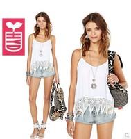 2014 Spaghetti straps cotton Womens white Splicing Lace vest womens Serrated hem tassel tanks tops,Bohemian style