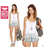 2014 Spaghetti straps cotton Womens white Splicing Lace vest womens Serrated hem tassel tanks tops,Bohemian style
