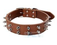 Brown Imitation Leather Pet Double Metal Nail Dog Collars Dog Ring