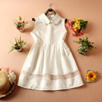 New 2014 women's summer dress sleeveles ball Gown turn-down collar chiffon cute slim  girl dress free shipping