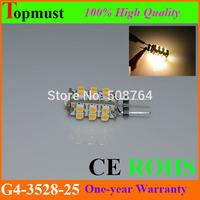 100Pcs/Lot Wholesale 125lm 3528 25 SMD Beam Angle 360degree LED G4 Light Warm White Bulb Lamp 12VAC 1.5W