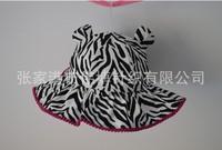 2014 New Children Caps  Zebra Striped Spring Summer Cap Sunbonnet  Bucket Hats Baby Hat Girls Beach Cap 48cm,50cm,52cm,54cm