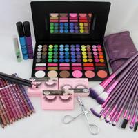 Cosmetic Makeup Kits Eyeshadow Foundation Blusher Powder Lip Gloss Palette Brushes Set