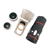 Universal 4 in 1 lens Set 10X Optical Zoom Telescope Magnifier Fisheye Macro Wide Angle Lens for Iphone 4 5 5S 5C Samsung S4 S5