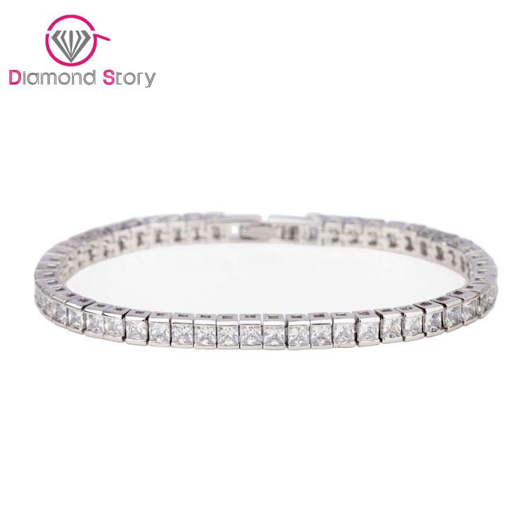 Simple Style! Full of Square Shape Cubic Zirconia Luxury Women Bracelet White Gold Plated(China (Mainland))