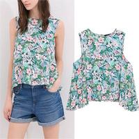 New 2014 women t-shirts woman clothes Short irregular fashion sleeveless printing T-shirt Free shipping