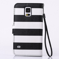 10pcs/lot 3D Navy Stripes Anchor Rudder Wallet Leather Stand Card Holder Flip Case Cover For Samsung Galaxy S5 i9600