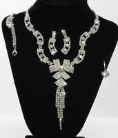Sparkling Rhinestone Crystal Necklace Earrings Set Wedding Bridal Party Jewelry