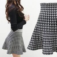 2014 spring sheds high waist Free shipping Fashion Casual Summer Houndstooth  Mini SkirtsWholesale short skirt bag skirt