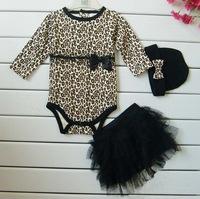 2014 Children clothing set Baby girl 3pieces suits romper+tutu Skirt+cap baby cotton rompers toddler jumpsuit infant bodysuit
