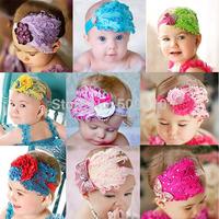Cuter!!! New Fashion Hot Infant Baby Toddler Feather Flower Diamond Bow Headband Soft Headwear Hair Band FH018
