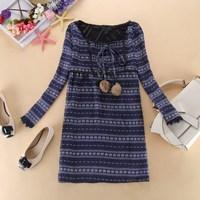 New 2014 winter dress long-sleeve chiffon one-piece dress national trend women's clothing EN039