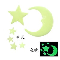 2014 Top Fasion Real Freeshipping Small Romantic Luminous Paste / Bedroom Wall Stickers Ceiling - Stars And The Moon Accessories