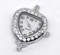 2 Silver Tone Rhinestone Heart Quartz Watch Faces (Over $100 Free Express)