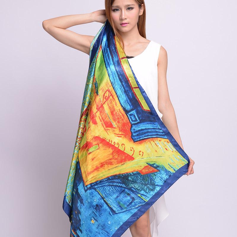 OVO! 2014 fashion women summer spring Fashion 90x90cm Square Scarf High Quality Imitated Silk Satin Scarves Shawl Hijab(China (Mainland))