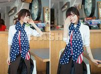 2014  New Women Ladies Girls Long Fringe Stars Scarf the United States Flag Soft Shawl Wrap Free Shipping