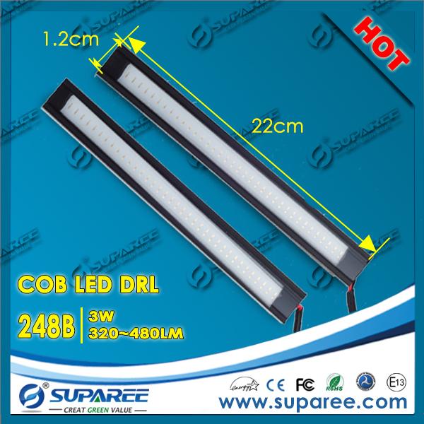 Hotest 1 Pair 3W 22*1.2*0.7CM Waterproof Slim Daytime Running Light DRL flexible tube COB Car Light Source Four Colors(China (Mainland))